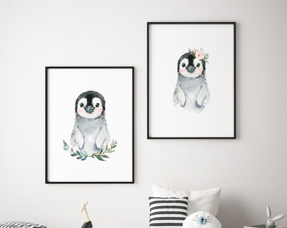 Penguin Watercolor Print Set - Boho Nursery Print Wall Art Home Decor - Baby Animals - Baby Girl - Boy Room Printable - DIGITAL DOWNLOAD