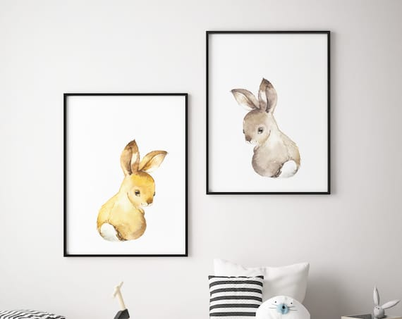 Baby Bunny Bunnies Print Set - Boho Nursery Print Wall Art Home Decor - Baby Animals - Baby Girl - Boy Room Printable - DIGITAL DOWNLOAD