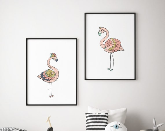 8x10 Flamingo Flamingos - Animal Print Set - Boho Nursery Wall Art Home Decor - Baby Girl - Boy Room Printable - DIGITAL DOWNLOAD