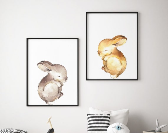Sleeping Baby Bunnies Set - Boho Nursery Print Wall Art Home Decor Baby Girl - Boy Room Printable - DIGITAL DOWNLOAD