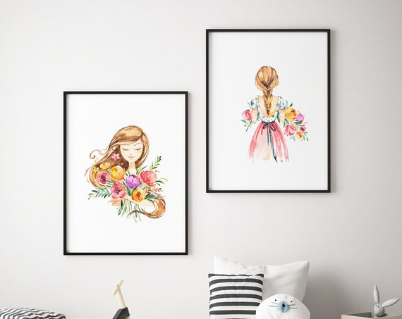 Spring Flower Girl Set - Boho Nursery Print Wall Art Home Decor Baby Girl - Boy Room Printable - DIGITAL DOWNLOAD