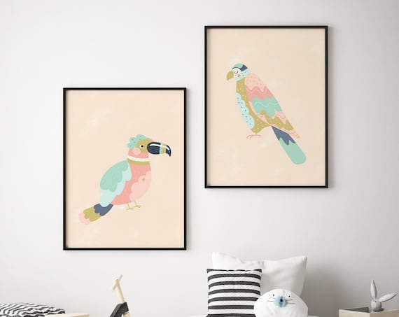 Pastel Tropical Bird Print Set - Boho Nursery Print Wall Art Home Decor - Baby Animals - Baby Girl - Boy Room Printable - DIGITAL DOWNLOAD