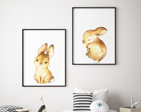 Two Baby Bunnies Print Set - Boho Nursery Print Wall Art Home Decor - Baby Animals - Baby Girl - Boy Room Printable - DIGITAL DOWNLOAD