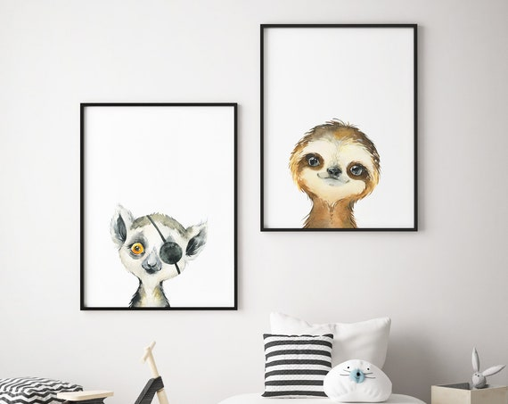 Pirate Lemur and Sloth Set - Boho Nursery Print Wall Art Home Decor Baby Girl - Boy Room Printable - DIGITAL DOWNLOAD