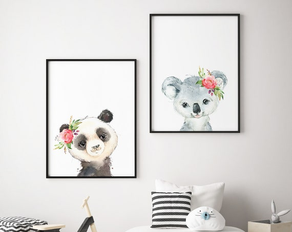 Koala and Panda Bear Set - Boho Nursery Print Wall Art Home Decor Baby Girl - Boy Room Printable - DIGITAL DOWNLOAD