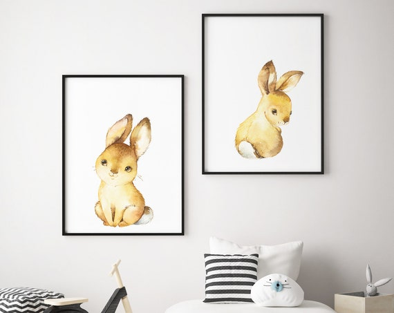 Sitting Baby Bunnies Print Set - Boho Nursery Print Wall Art Home Decor - Baby Animals - Baby Girl - Boy Room Printable - DIGITAL DOWNLOAD
