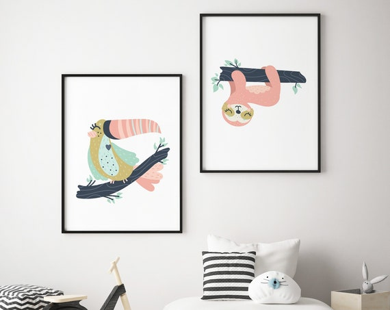 Colorful Toucan & Sloth Animal Print Set - Boho Nursery Print Wall Art Home Decor - Baby Girl - Boy Room Printable - DIGITAL DOWNLOAD