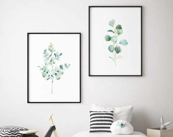 Eucalyptus Botanical Print Set - Boho Nursery Print Wall Art Home Decor Baby Girl - Boy Room Printable - DIGITAL DOWNLOAD