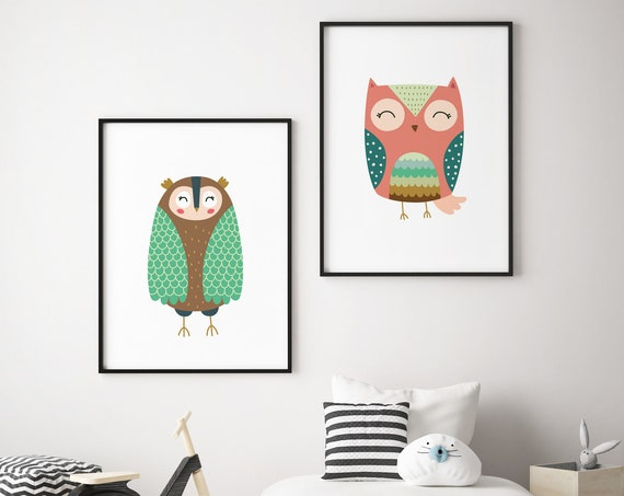 8x10 Owls - Bird Animal Print Set - Boho Nursery Print Wall Art Home Decor - Baby Girl - Boy Room Printable - DIGITAL DOWNLOAD