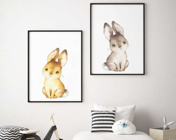 Two Sitting Bunnies Print Set - Boho Nursery Print Wall Art Home Decor - Baby Animals - Baby Girl - Boy Room Printable - DIGITAL DOWNLOAD
