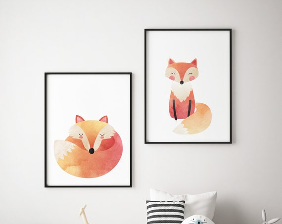 8 x 10 Ombre Foxes Fox Animal Print Set - Boho Nursery Print Wall Art Home Decor - Baby Girl - Boy Room Printable - DIGITAL DOWNLOAD