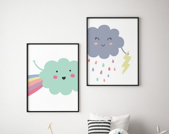 Weather - Cloud Thunder Rain & Rainbow Print Set - Nursery Print Wall Art Home Decor Baby Kids Room Printable - DIGITAL DOWNLOAD