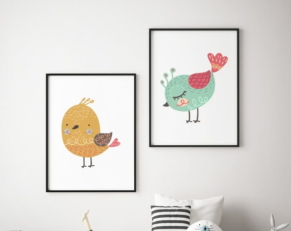 Colorful Birds Animal Print Set - Boho Nursery Print Wall Art Home Decor - Baby Girl - Boy Room Printable - DIGITAL DOWNLOAD