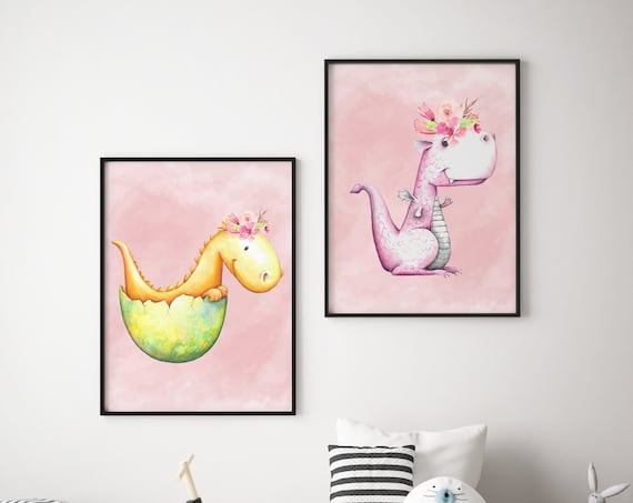 8 x 10 Dinosaur Set - Boho Nursery Decor Print Wall Art Watercolor Baby Girl Room Printable Decor