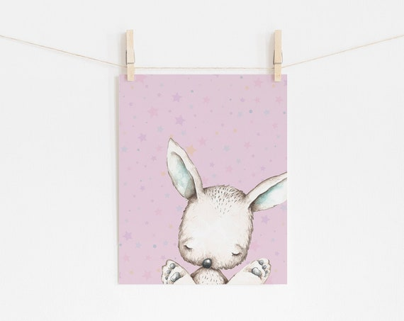 11 x 14 Bunny Rabbit Animal Art Print- Nursery Print Wall Art Baby Kids Room Printable Decor - DIGITAL DOWNLOAD