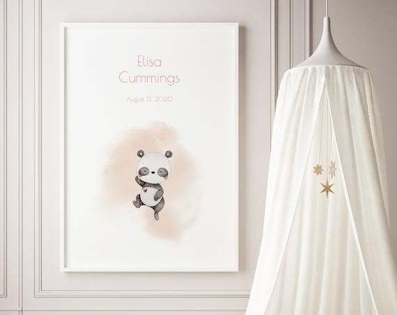Custom Name Panda Bear Watercolor Art Baby Nursery Print - DIGITAL FILE - JPEG - Baby Shower Gift - Nursery Decor Poster