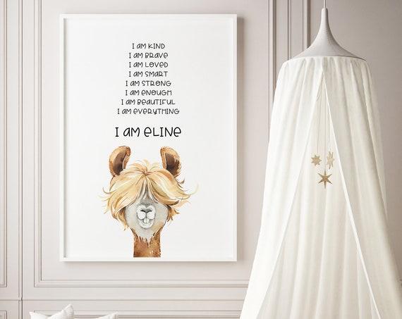 Custom Name Affirmations Llama Watercolor Animal Art Baby Nursery Kids Room Print - DIGITAL FILE - JPEG -