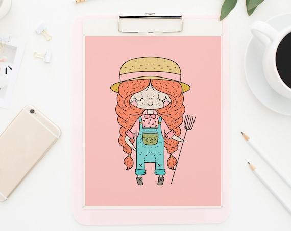 8 x 10 Farm Girl - Pink Print- Nursery Kids Decor Wall Art Baby Girl - Boy Room Printable Decor - DIGITAL DOWNLOAD