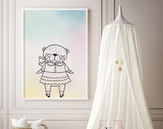 Bear Girl Drawing Animal Print- Nursery Decor Print Wall Art Baby Girl - Boy Room Printable Decor - DIGITAL DOWNLOAD