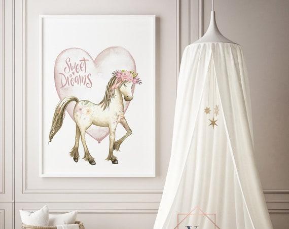 Sweet Dreams HorseWatercolor Animal Print- Nursery Decor Print Wall Art Baby Girl - Boy Room Printable Decor - DIGITAL DOWNLOAD