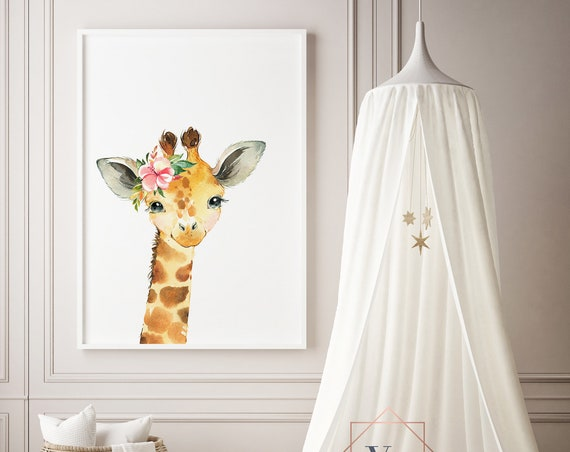 Giraffe Watercolor Animal Print- Nursery Decor Print Wall Art Baby Girl - Boy Room Printable Decor - DIGITAL DOWNLOAD