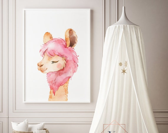 Llama Portrait Pink Watercolor Print- Nursery Decor Wall Art Baby Girl - Boy Room Printable Decor - DIGITAL DOWNLOAD