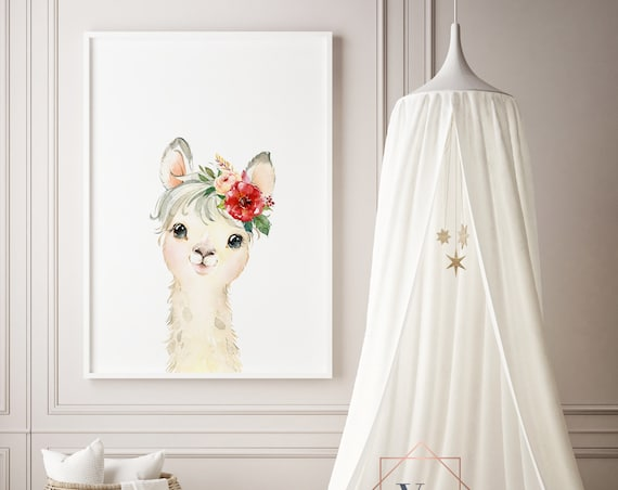 Light Llama Flowers Watercolor Print- Nursery Decor, Baby Animal Wall Art Baby Girl - Boy Printable Decor - DIGITAL DOWNLOAD