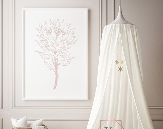 Protea Drawing Pink Flower Floral Print- Nursery Decor Print Wall Art Baby Girl - Boy Room Printable Decor - DIGITAL DOWNLOAD