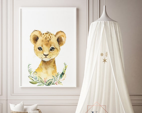 Lion Green Wreath Watercolor Animal Print- Nursery Decor Print Wall Art Baby Girl - Boy Room Printable Decor - DIGITAL DOWNLOAD