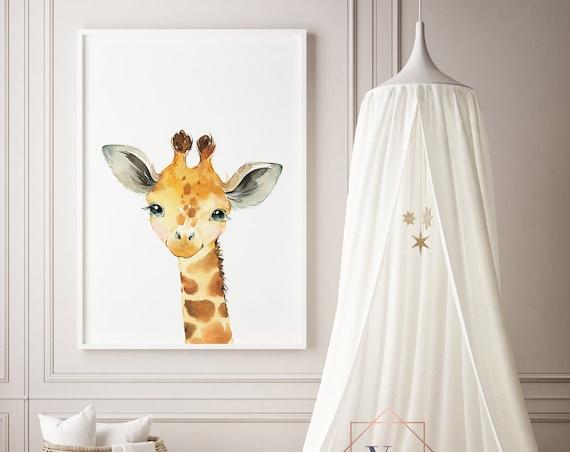 Giraffe Watercolor Animal Print- Nursery Decor Print Wall Art Baby Girl - Boy Room Printable Decor - DIGITAL DOWNLOAD