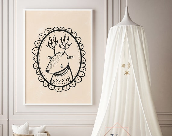 Deer Portrait Chalk Animal Print- Nursery Decor Print Wall Art Baby Girl - Boy Room Printable Home Decor - DIGITAL DOWNLOAD
