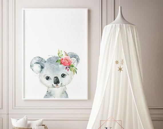 Koala Flowers Watercolor Print- Nursery Decor, Baby Animal Wall Art Baby Girl - Boy Printable Decor - DIGITAL DOWNLOAD