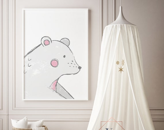 Bear Drawing Childrens Print- Boho Nursery Decor Print Wall Art Baby Girl - Boy Room Printable Decor - DIGITAL DOWNLOAD