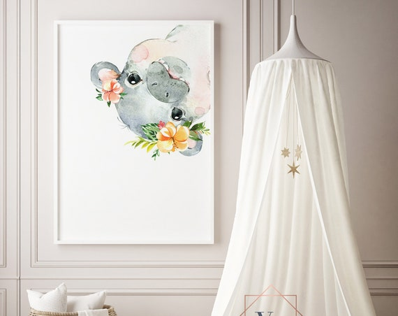 Hippo With Flowers Peekaboo Upside Down Watercolor Print- Nursery Decor Wall Art Baby Girl - Boy Room Printable Decor - DIGITAL DOWNLOAD