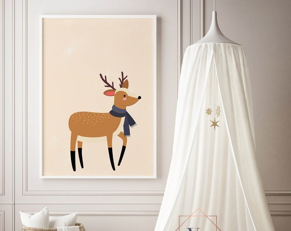 8 x 10 Winter Deer - Boho Nursery Decor Print Wall Art Home Decor Baby Girl - Boy Room Printable - DIGITAL DOWNLOAD