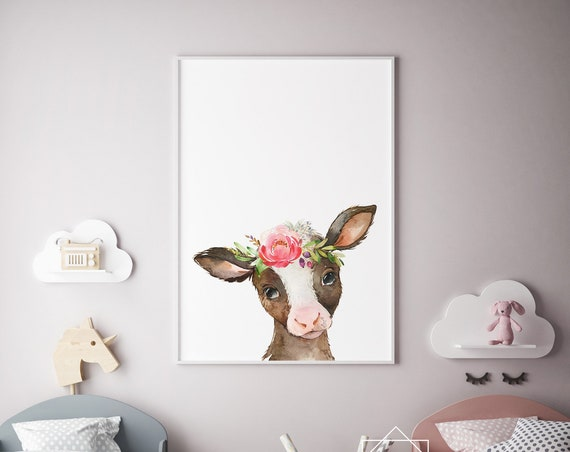 Calf Flowercrown Watercolor Print- Nursery Decor Print Wall Art Baby Girl - Boy Room Printable Decor - DIGITAL DOWNLOAD