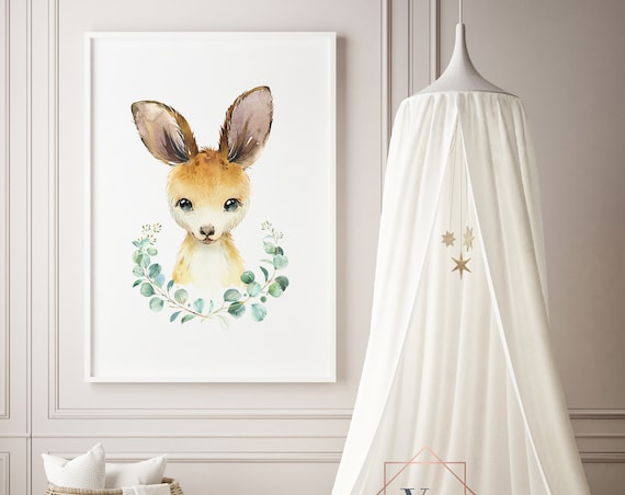 Kangaroo Wreath Animal Watercolor Print- Nursery Animal, Baby Animal, Wall Art Girl - Boy Room Printable Decor - DIGITAL DOWNLOAD