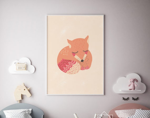 Sleepy Fox Animal Print- Nursery Decor Print Wall Art Baby Girl - Boy Room Printable Home Decor - DIGITAL DOWNLOAD