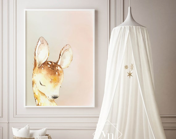 Little Sleepy Deer - Nursery Print - Watercolor Baby Girl / Boy Room - DIGITAL DOWNLOAD