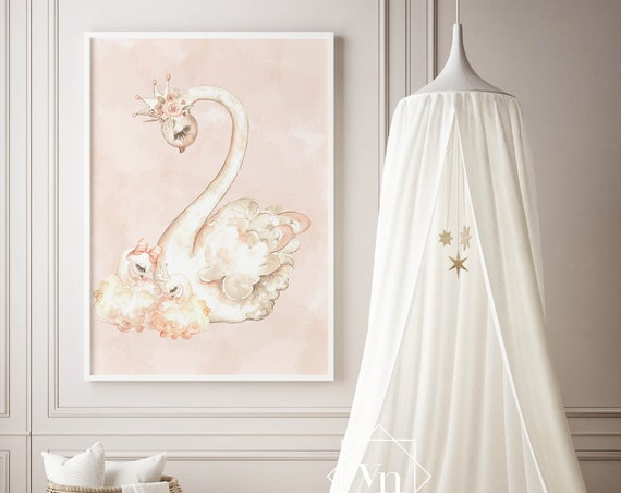8 x 10 Swan and Babies Peach - Boho Nursery Print Wall Art Watercolor Floral Fox Rustic Baby Girl Room Printable Bohemian DecorPeach