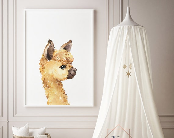 Llama Brown Watercolor Print- Nursery Decor, Baby Animal Wall Art Baby Girl - Boy Printable Decor - DIGITAL DOWNLOAD