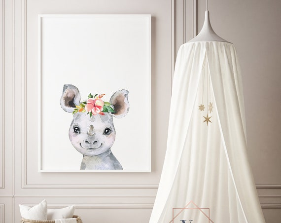 Rhino Flowers Watercolor Animal Print- Nursery Decor Print Wall Art Baby Girl - Boy Room Printable Decor - DIGITAL DOWNLOAD