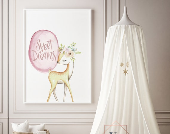 Sweet Dreams Deer Watercolor Animal Print- Nursery Decor Print Wall Art Baby Girl - Boy Room Printable Decor - DIGITAL DOWNLOAD