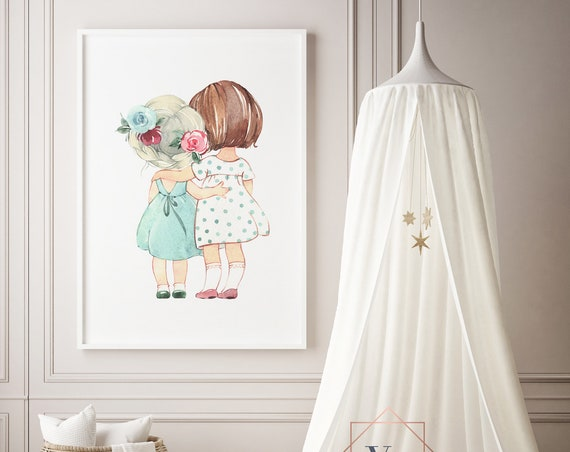 Friends Watercolor Girls Print- Nursery Decor Print Wall Art Baby Girl - Boy Room Printable Decor - DIGITAL DOWNLOAD
