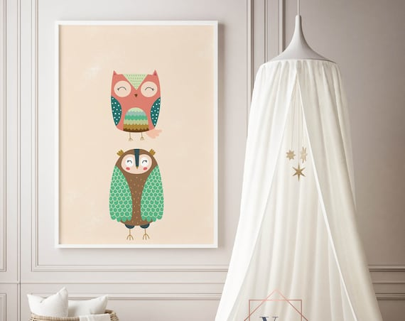 8 x 10 Two Owls Print - Boho Nursery Decor Print Wall Art Home Decor Baby Girl - Boy Room Printable - DIGITAL DOWNLOAD