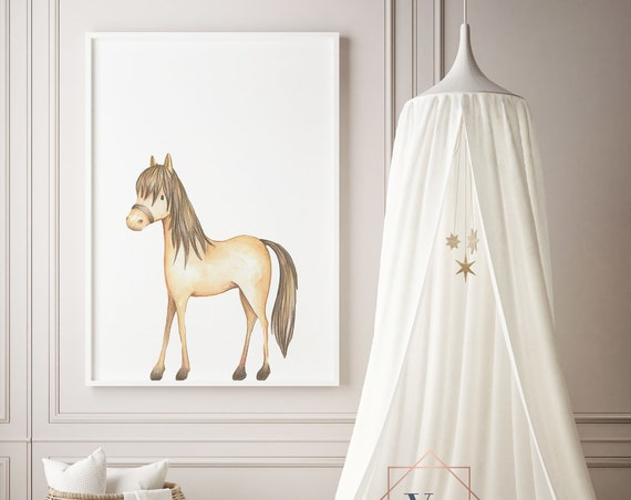 Pony - Horse Print - Nursery Print - Watercolor Baby Girl / Boy Room - DIGITAL DOWNLOAD