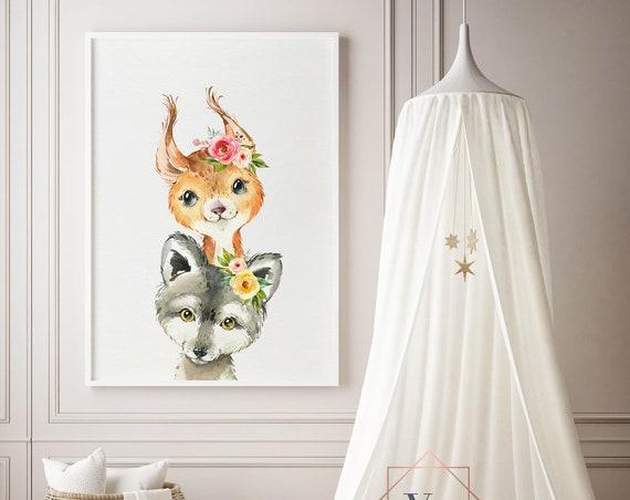 8 x 10 Wolf and Squirrel Peekaboo  - Boho Nursery Decor Print Wall Art Baby Girl - Boy Room Printable Decor - DIGITAL DOWNLOAD