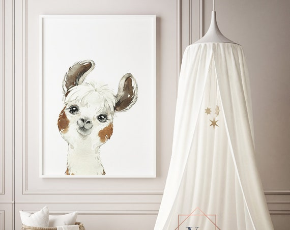 Light Llama Watercolor Print- Boho Nursery Decor Print Wall Art Baby Girl - Boy Room Printable Decor - DIGITAL DOWNLOAD
