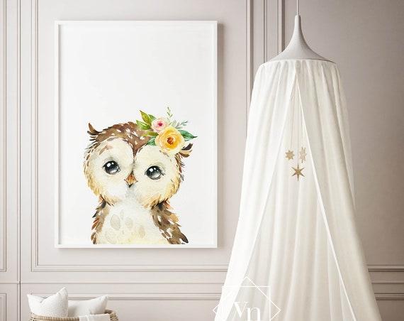 8 x 10 Owl with Flowers - Boho Nursery Print Wall Art Watercolor Floral Fox Rustic Baby Girl Room Printable Bohemian Decor