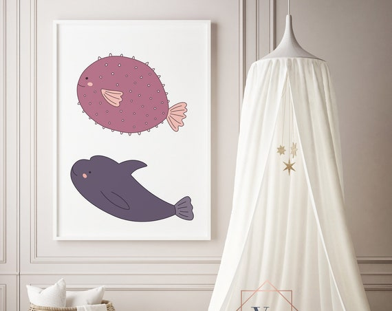 8 x 10 Swim Together Sea Print - Boho Nursery Decor Print Wall Art Home Decor Baby Girl - Boy Room Printable - DIGITAL DOWNLOAD